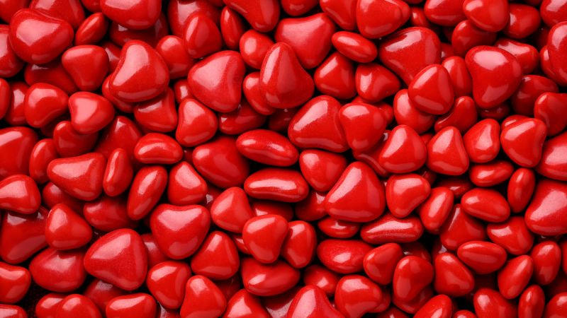 Valentine's Day, love image, hearts, red, 8k (horizontal)