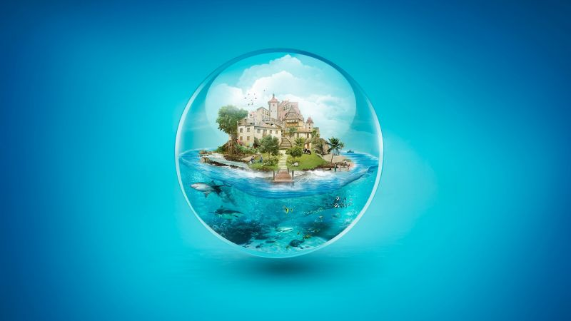 ball, house, underwater, shark, 4k (horizontal)