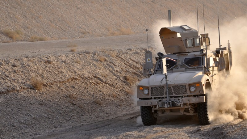 M-ATV, Oshkosh, MRAP, TerraMax, infantry mobility vehicle, field, desert, dust (horizontal)