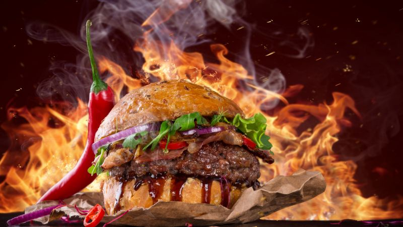 burger, steak, fire, fast food, pepper, 5k (horizontal)