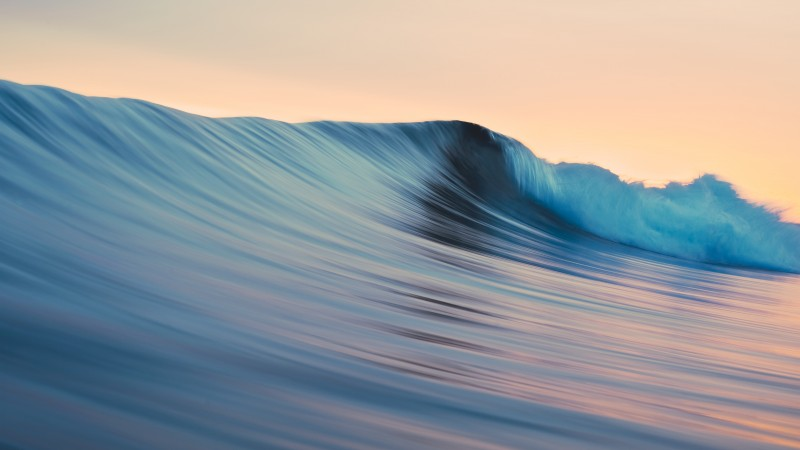 OSX, 5k, 4k wallpaper, 8k, rolling, waves, blue, sunset (horizontal)