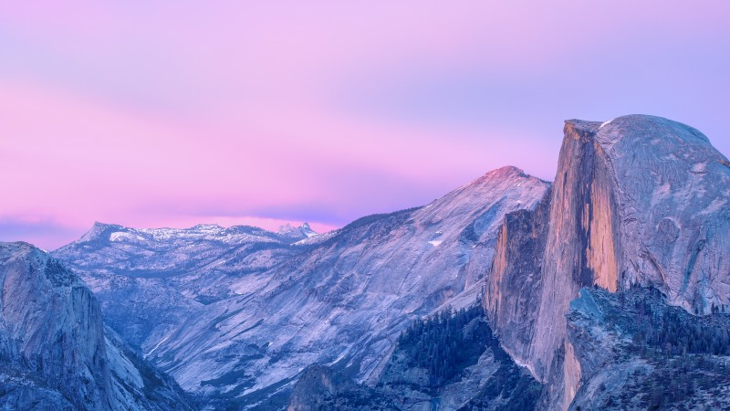 yosemite, 5k, 4k wallpaper, forest, OSX, apple, mountains, sunset, snow (horizontal)