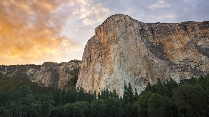 El Capitan, 5k, 4k wallpaper, 8k, forest, OSX, apple, mountains, sunset (horizontal)