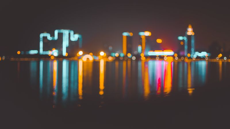 Blur, Bokeh, City, Night, 4K, 6K (horizontal)