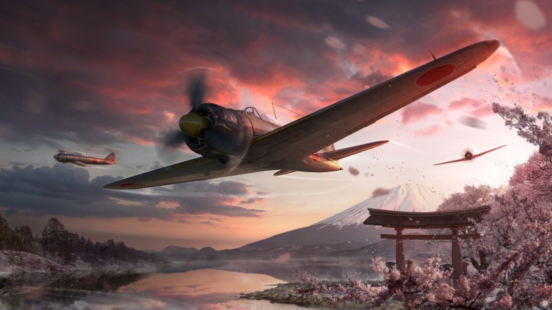 World of Warplanes, game, MMO, airplane, sakura, sunset, sky, clouds, lake, mountain, forest, screenshot, 4k, 5k, PC, 2015