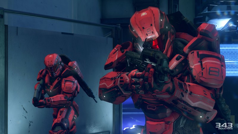 Halo 5: Guardians, game, fps, sci-fi, shooter, weapon, space, robots, spaceship, red, soldier, screenshot, 4k, 5k, PC, 2015