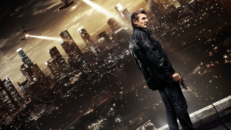 Taken 3, film, movie, roof, night city, helicopter, light, lights, gun, man, Liam Neeson, Famke Janssen (horizontal)