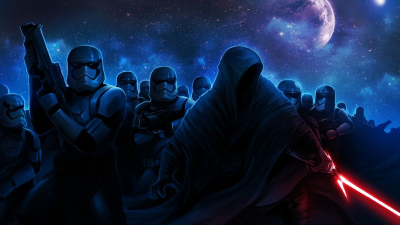 Star Wars: The Force Awakens, Star Wars 7, movie, film, imperial stormtroopers, episode, force, jedi, lightsaber, sith, stars, planet, sky, art