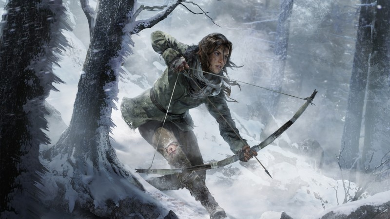 Rise of the Tomb Raider, game, forest, snow, bow, wind, screenshot, , 4k, 5k, PC, 2015 (horizontal)