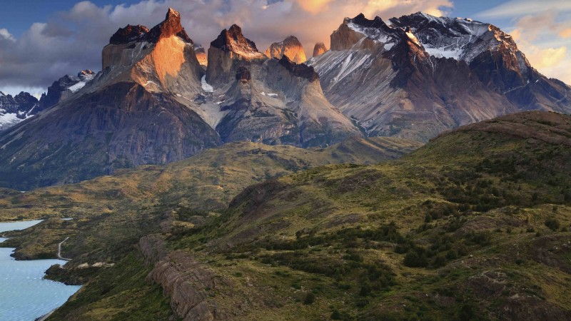 Torres del Paine, 4k, HD wallpaper, National Park, Patagonia, Chile, sunset (horizontal)