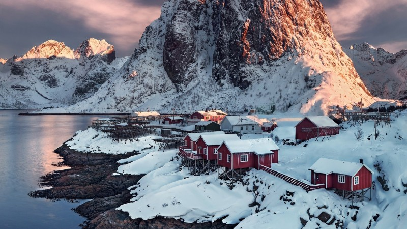 village, 4k, HD wallpaper, Hamnoy, Norway, sunset, water