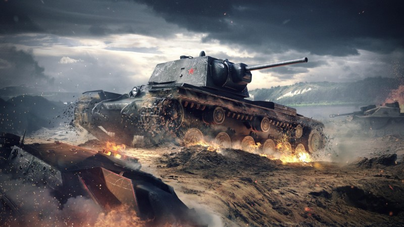 World of Tanks Blitz, game, tactic, mmo, tank, KV-1, battlefield, sparks, clouds, sky, battle, fire, screenshot, 4k, 5k, PC, 2015 (horizontal)