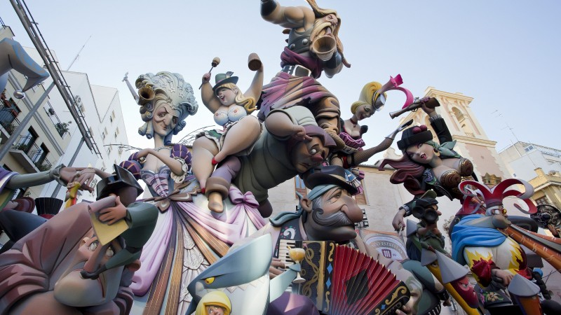 Las Fallas, holiday Valencian Community, Spain, fire, spring, burning of giant puppets, event (horizontal)