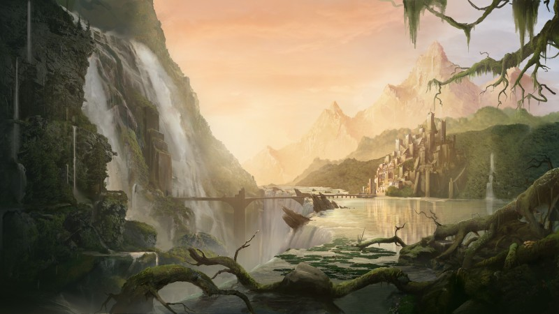 matte painting, art, village, city, forest, waterfall, bridge, river