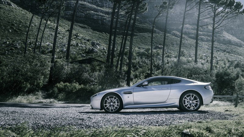 Aston Martin V8 Vantage, sports car, Aston Martin, luxury cars, Gran Turismo, Zagato, side, forest (horizontal)