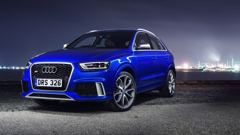 Audi RS Q3, crossover, Audi, CUV, city, night, blue, front, 2015 Detroit Auto Show. NAIAS
