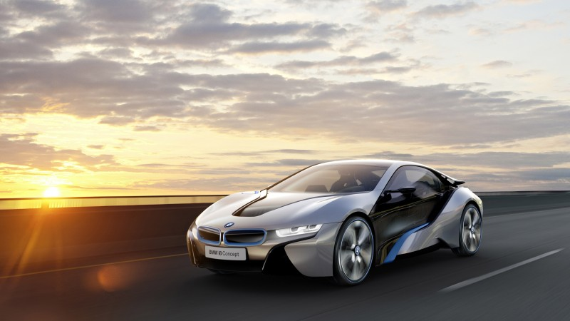 BMW i8, 4k, HD wallpaper, electric cars, MCV, carbon, luxury cars, Gran Turismo, Best Electric Cars 2015, GT, BMW, Project I, side, sunset (horizontal)