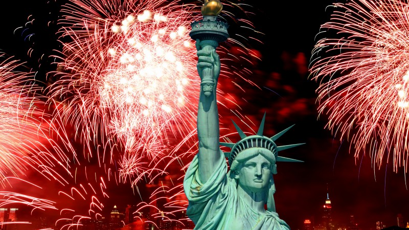 Independence Day, USA, NY, Statue of Liberty, event, fireworks