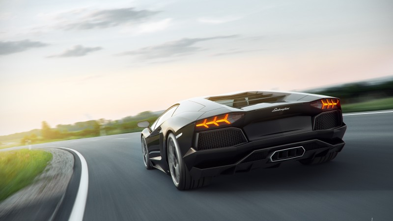 lamborghini, 5k, 4k wallpaper, 8k, supercar, aventador, black (horizontal)