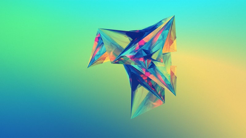 polygon, 4k, HD wallpaper, green, orange, blue, background (horizontal)