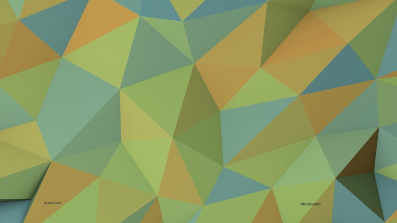 polygon, green, yellow, background, pattern