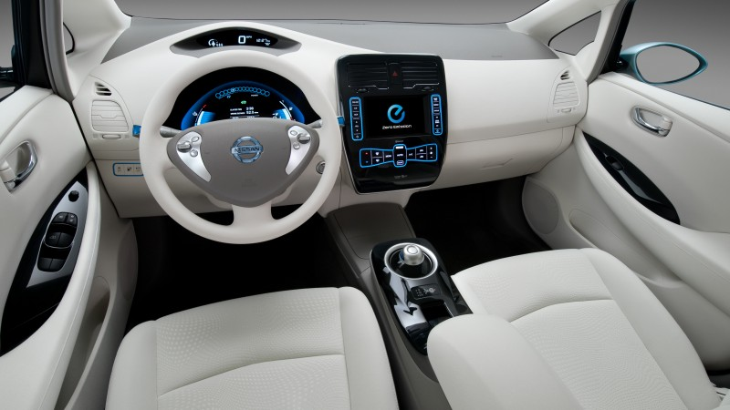 Nissan LEAF, electric cars, Nissan, interior, city cars, Best Electric Cars 2015, ecosafe, review, side, buy, rent, 2015 Detroit Auto Show. NAIAS (horizontal)