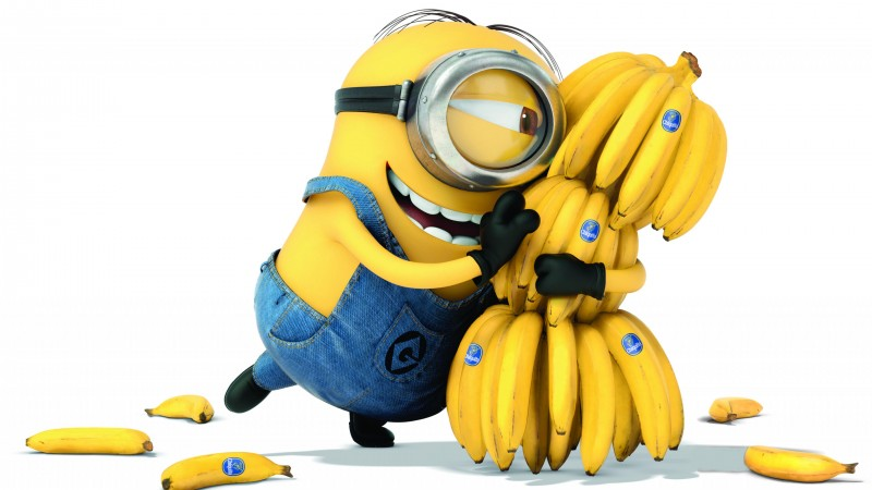 Minions, 2015, cartoon, movie, Allison Janney, Steve Coogan, Kevin, Bob, bananas, white background, yellow, funny (horizontal)
