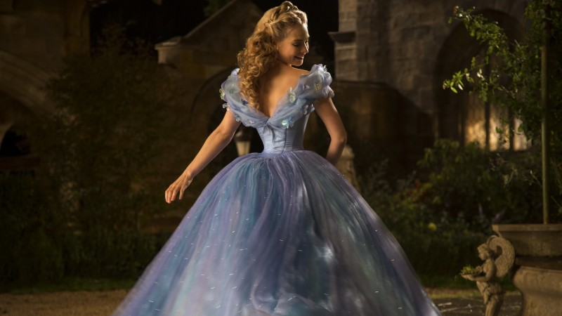 Cinderella, Best Movies of 2015, film, romantic, blue dress, blonde, fog, Lily James, Ella, Richard Madden, Prince Charming, Helena Bonham Carter, The Fairy Godmother (horizontal)