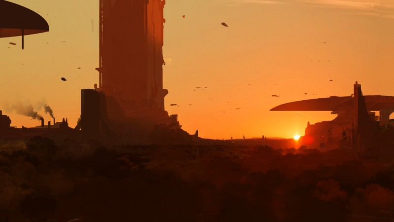 sunset, art, matte painting