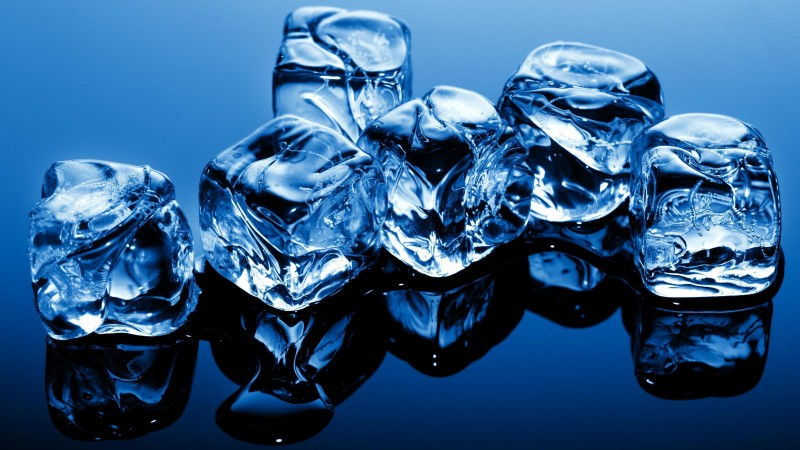ice, cubes, blue, frozen, water, background