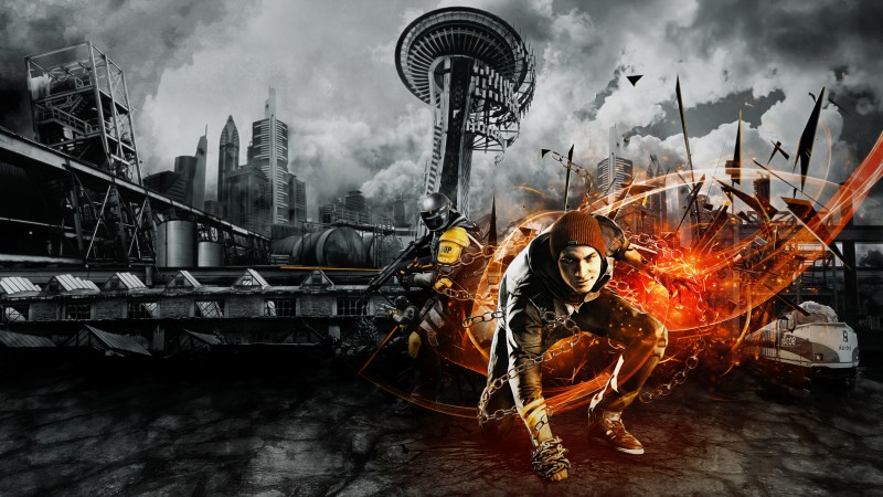 InFAMOUS Second Son, game, Seattle, Cole MacGrath, explosion, police, D.U.P., fire, sparks, yellow, screenshot, art (horizontal)