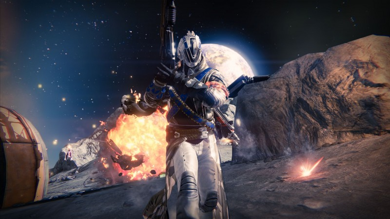 Destiny, game, MMOFPS, sci-fi, space, weapon, planet, gun, soldier, Exo, blue, screenshot