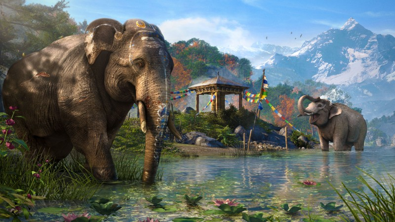 Far Cry 4, game, open world, Adventure games, shooter, Kyrat, elephant, Himalayas, Tibet, lake, screenshot