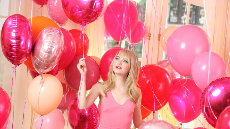 Emma Stone, Most Popular Celebs in 2015, actress, balloons, pink, blonde (horizontal)