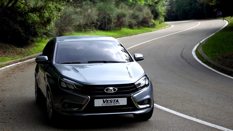 Lada Vesta, Kalina, sports car, city cars, review, test drive, 2015 cars, front, side (horizontal)