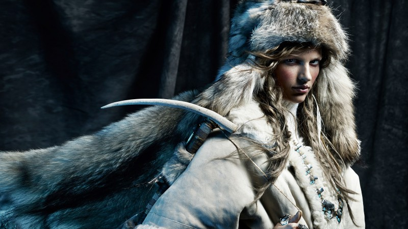 Bette Franke, Top Fashion Models 2015, model, fur, wolf (horizontal)