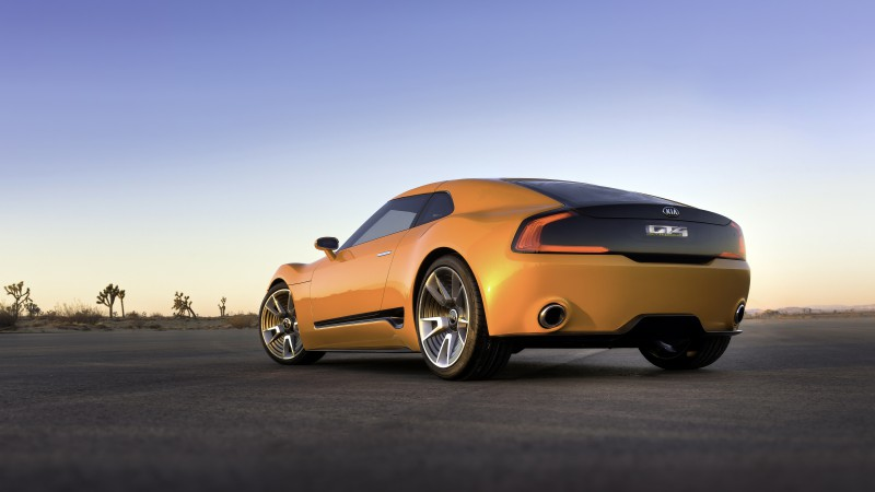 Kia GT4 Stinger, concept, supercar, luxury cars, sports car, yellow, back, review, test drive