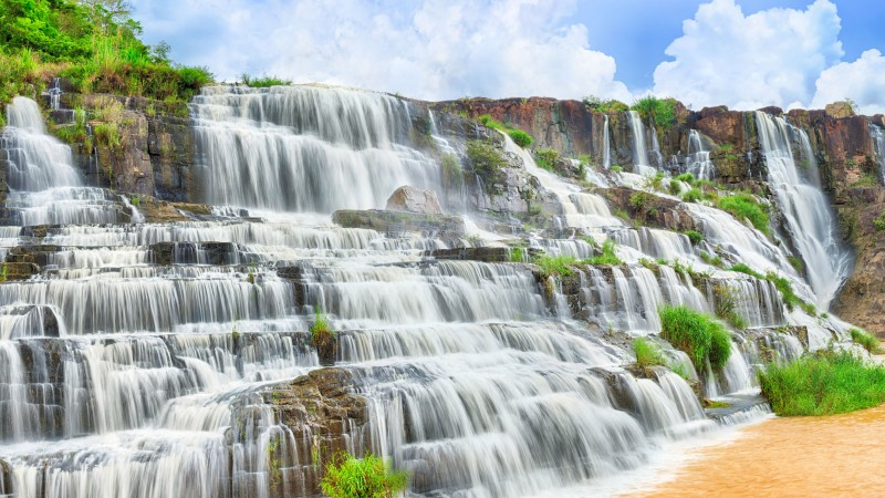 Pongour Waterfall, 4k, HD wallpaper, falls, travel, Pongour, waterfall, Dalat, Vietnam, mountain, river (horizontal)