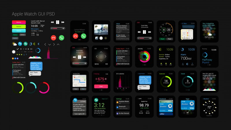 Apple Watch, GUI, interface, watches, wallpaper, 5k, 4k, review, iWatch, Apple, interface, display, silver, Real Futuristic Gadgets (horizontal)