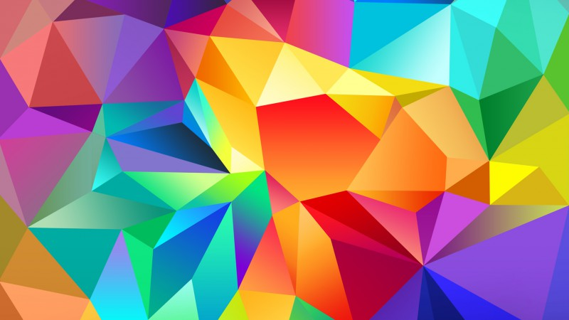 polygon, 4k, HD wallpaper, android wallpaper, triangle, background, orange, red, blue, pattern (horizontal)