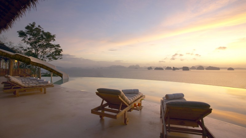 Six Senses Yao Noi, Koh Yao Noi, Eco, The best hotel pools 2017, tourism, travel, resort, vacation, pool, sunset, sunrise, sunbed, sky