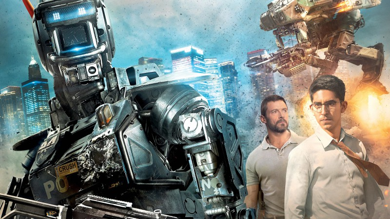 Chappie, Best Movies of 2015, Hugh Jackman, Dev Patel, poster, wallpaper, robot, gun (horizontal)