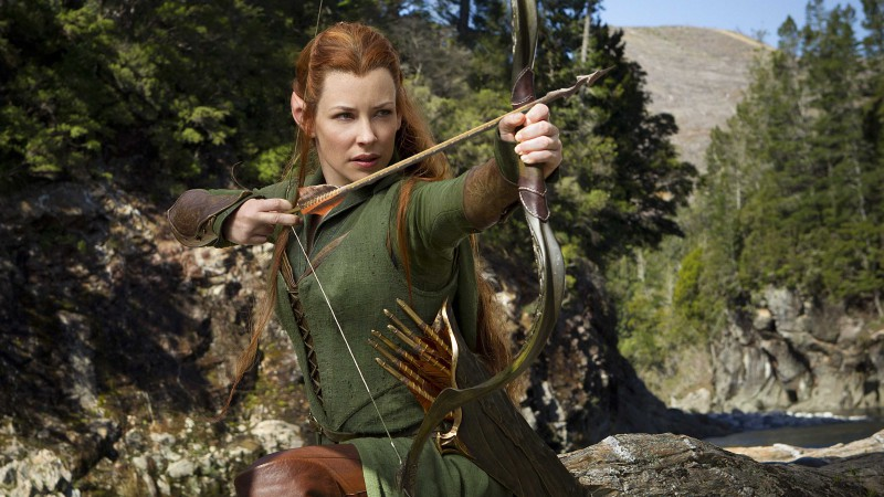 Evangeline Lilly, actress, Hobbit, arrow, elf, forest (horizontal)