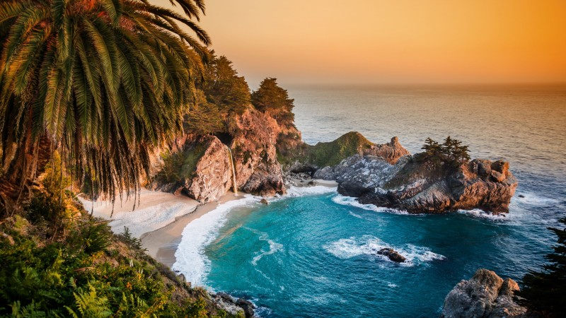 Pacific Ocean, 5k, 4k wallpaper, big sur, california, beach, mcway falls, sunset (horizontal)