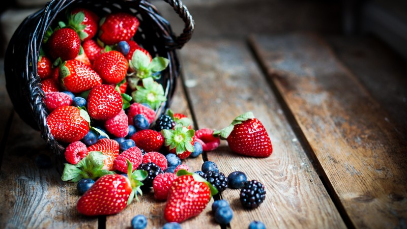 food, fruit, summer, berries, strawberry, raspberry, blackberry, basket. (horizontal)