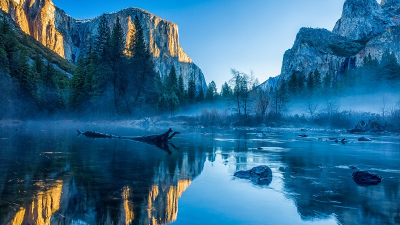 Yosemite, El Capitan, HD, 4k wallpaper, winter, forest, OSX, apple, mountains (horizontal)