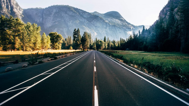 Yosemite, 5k, 4k wallpaper, 8k, forest, OSX, apple, mountains, road (horizontal)