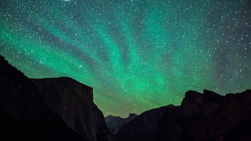 Yosemite, 5k, 4k wallpaper, 8k, milky way, stars, forest, OSX, apple, mountains (horizontal)