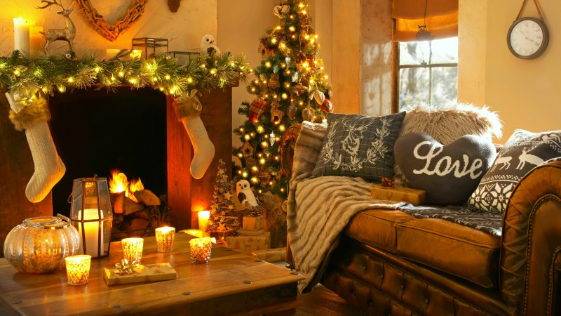 Christmas, new year, home, light, fire, candles, pillows,  (horizontal)