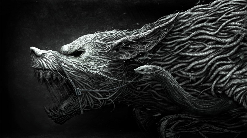 Wolf, Hellhound, art, black and white, dangerous, noise, darkness (horizontal)